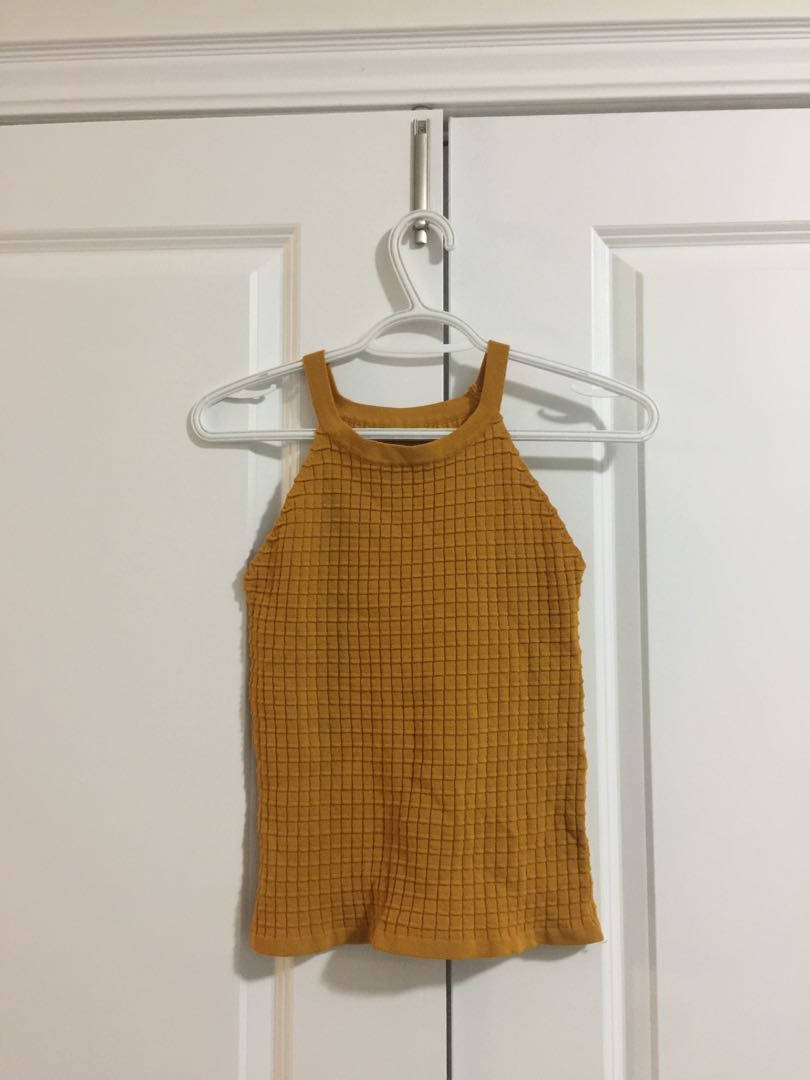 Mustard yellow knit halter top