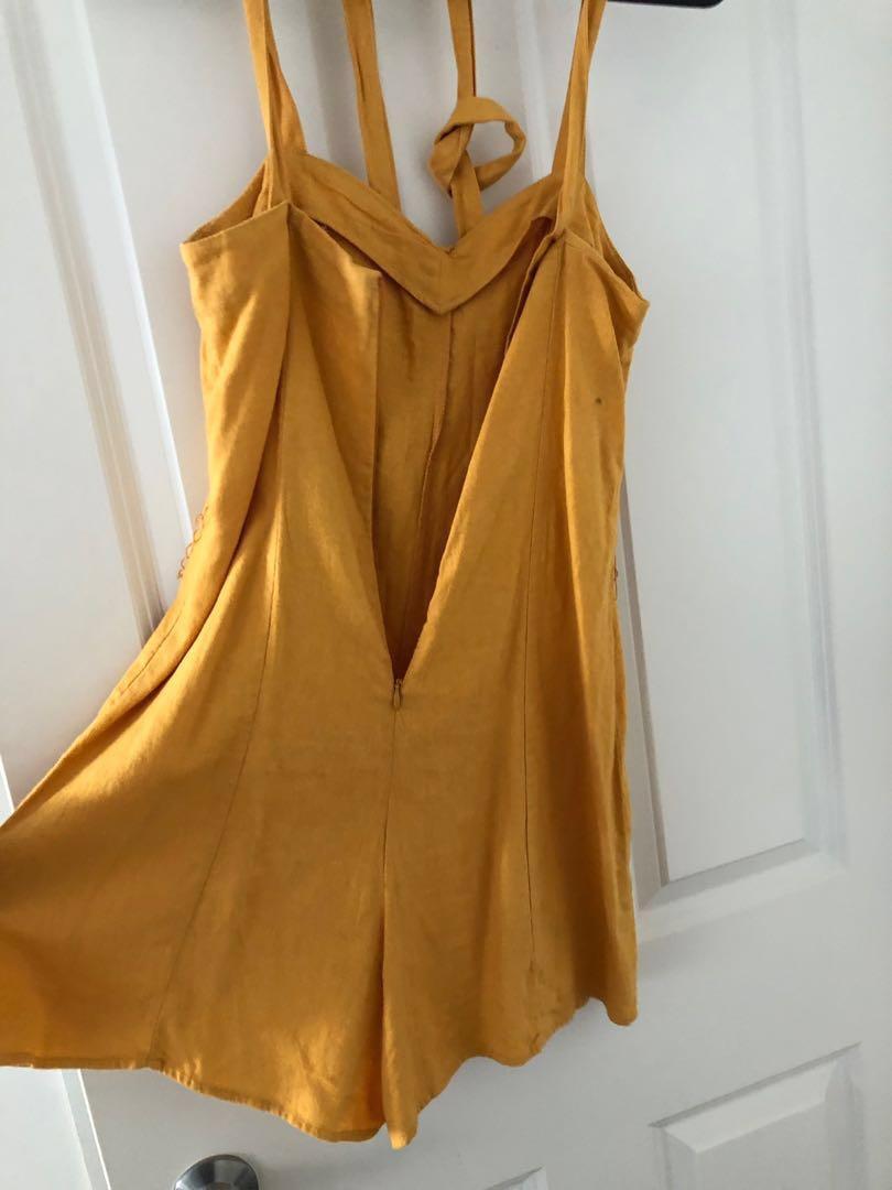 mustard yellow linen playsuit