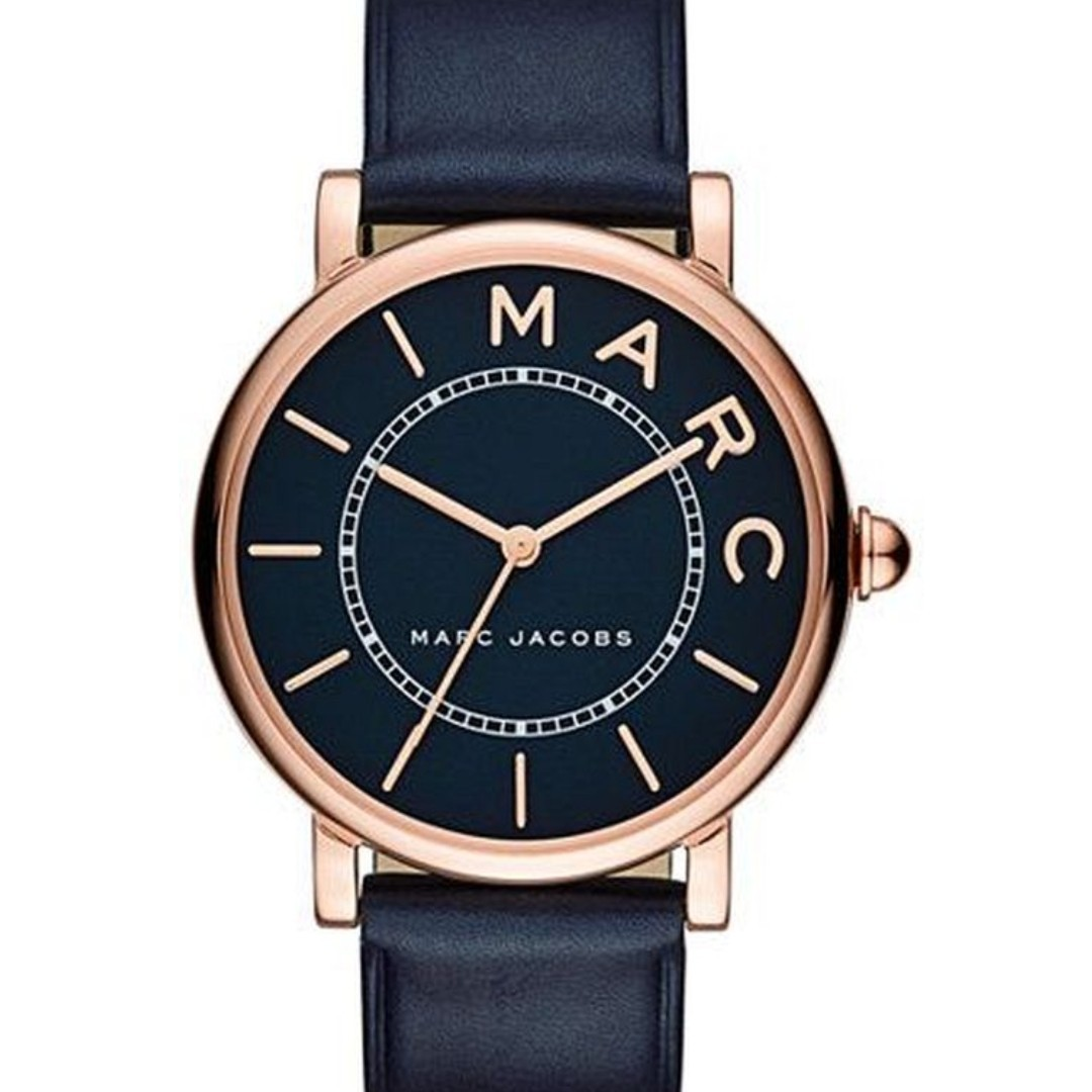 a14f4e4af32a NEW MARC JACOBS Roxy Classic Rose Gold-Tone Stainless Steel Navy ...