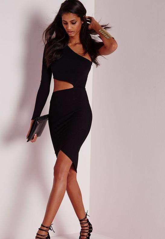 One Shoulder Cut-Out Bodycon Dress