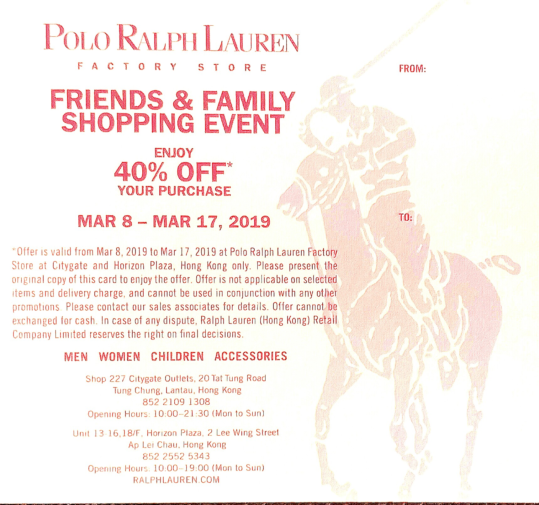 4ab261f17 Polo Ralph Lauren 40% off Discount Card