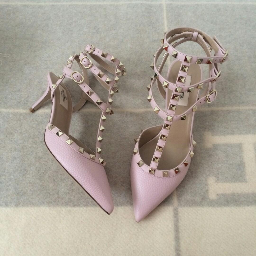 READY SALE Valentino Rockstud Kitten Heels Rose Grained size 36 37 38 39 Complete Box