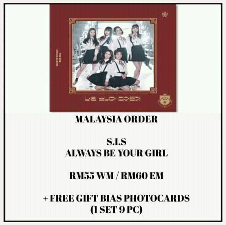 S.I.S - ALWAYS BE YOUR GIRL - PREORDER/NORMAL ORDER/GROUP ORDER/GO + FREE GIFT BIAS PHOTOCARDS (1 ALBUM GET 1 SET PC, 1 SET HAS 9 PC)