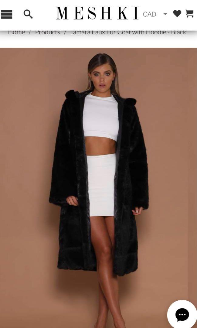TAMARA FAUX FUR COAT WITH HOODIE - BLACK