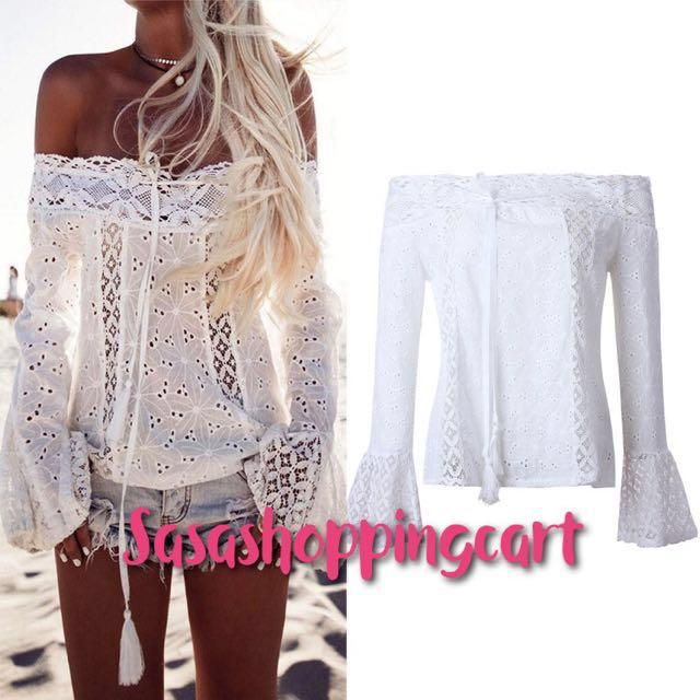 (White) Women's Off Shoulder Floral Blouse Shirt Beach Casual Holiday Loose Tops T-Shirt