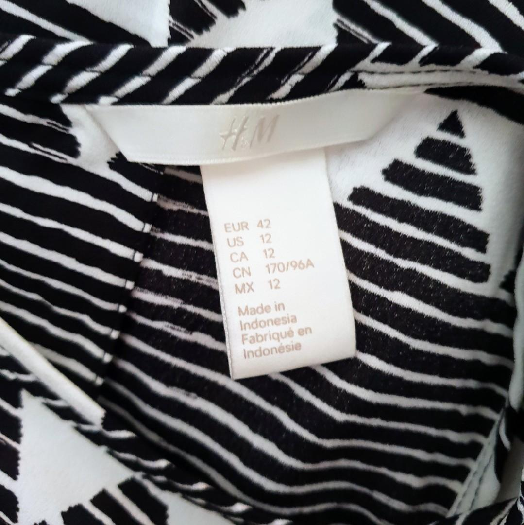 Women's size 12 'H&M' Gorgeous black and white print maxi dress - AS NEW