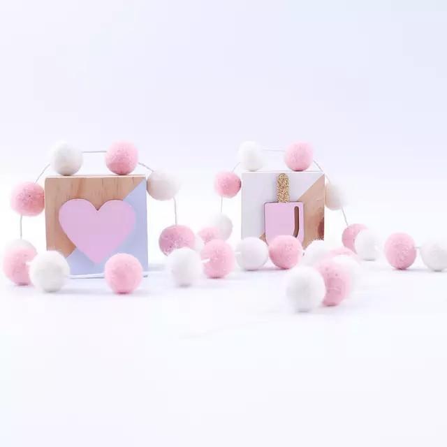 Wool ball garland pink white