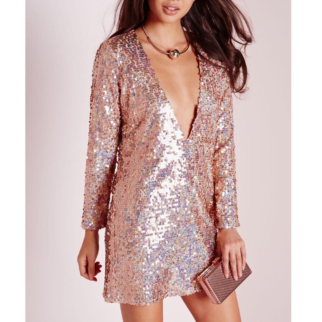 WORN TWICE Size 12 Missguided Plunge V-neck Sequin mini dress