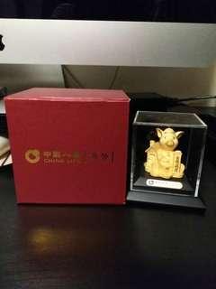 全新中國人壽24k金銀滿屋金豬擺設