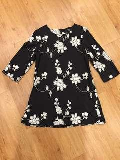 Black & White embroided floral dress