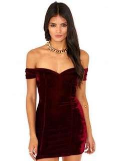 Missguided red velvet off shoulder mini dress