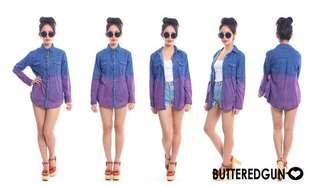 🚚 Butteredgun Dip dye denim outerwear