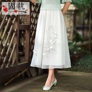 🚚 Oriental white long dress