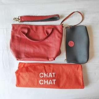 Chatchat by Rabeanco Red Full Leather Tote Bag #ENDGAMEyourEXCESS