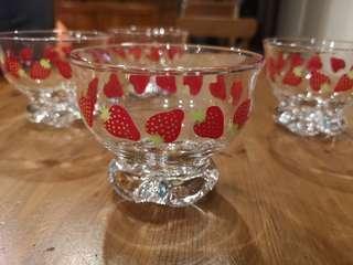 Vintage footed strawberry dessert glass bowls