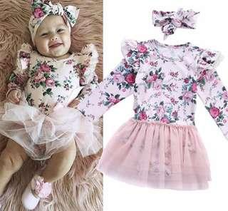 New Baby Girl Floral Lace Pageant