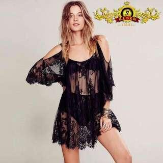 Lace Cover up for swimming or maternity shoot (white color on hand)