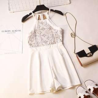 ✨white lace halter crochet basic romper // instock