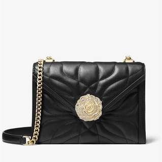 💯 Authentic Michael Kors Whitney large black petal floral crossbody sling bag