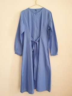 Tunik midi dress biru busui