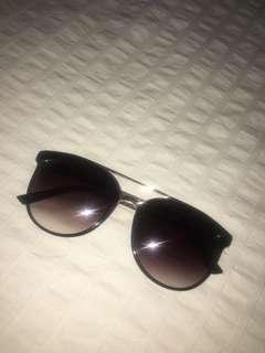 Oversized Black Sunglasses, Gold Detailing