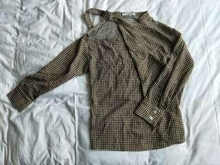 🚚 bnwot brown checkered blouse