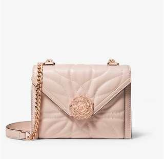 💯 Authentic Michael Kors small Whitney petal soft pink floral crossbody sling bag rose