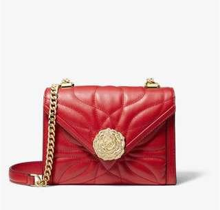 💯 Authentic brand new Michael Kors Whitney small petal floral bright red crossbody sling bag rose