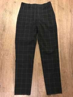 Dark blue plaid dress pants
