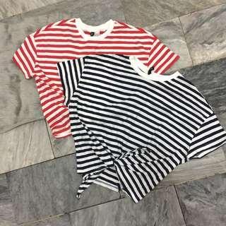 BNWOT H&M Stripes Self Tie Crop Top