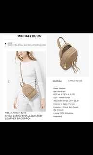Michael Kors Quilted Leather Backpack - RHEA XS
