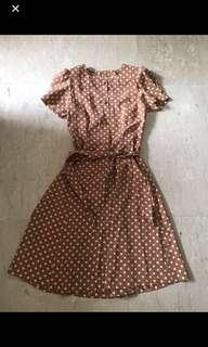 🚚 Brown Dress with White Polka Dots ( Clearance sales)