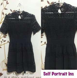 Self Portrait Ins Black Lace Dress