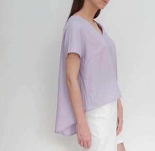 Kloth and lust lavender assymetric blouse