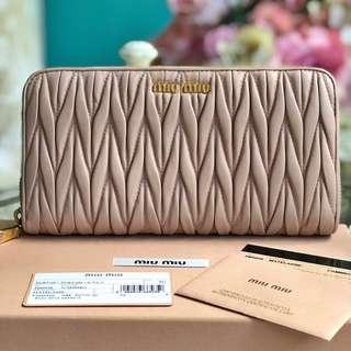 SALE! Authentic Miu Miu Matelassé Zippy Leather Wallet
