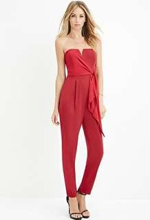 Forever 21 red strapless jumpsuit