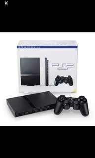 PlayStation 2 Console Slim In Original Box And Manuals (2 Controllers, 2 Games & 1 Memory Stick)play