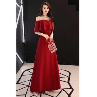 Gown Collection - Noble Wine Red Smooth Cloak Sleeves Style Gown