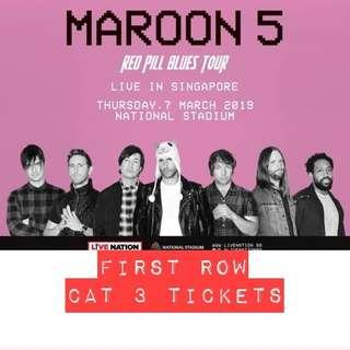 CAT 3 Maroon 5 ticket (1st row) for Red Pill Blues Tour