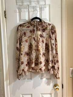 Zara Floral Print Spring Flower Boho Blouse size Large New with Tags