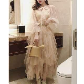 Dress Collection - Classical Europe Vintage Style Long Sleeves Layers Long Dress