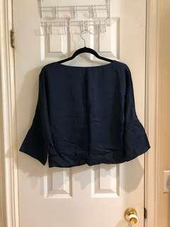 COS Cropped Blue Drop Back Top