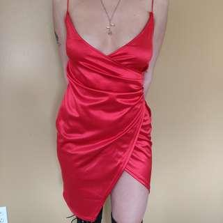 Zaful Red Satin Low Cut Dress