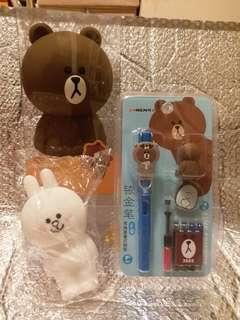 Line Friends Brown pencil case key bag stationery 筆袋匙包鋼筆