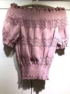 Off Shoulder Crop Top pink