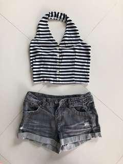 Black casual set with top and jeans short