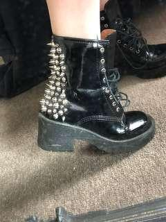 Jeffrey Campbell studded black boots doc look