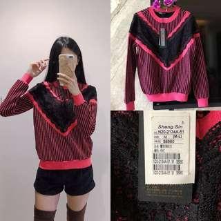 全新原價6980)專櫃設計師桃紅蕾絲小格子衛衣