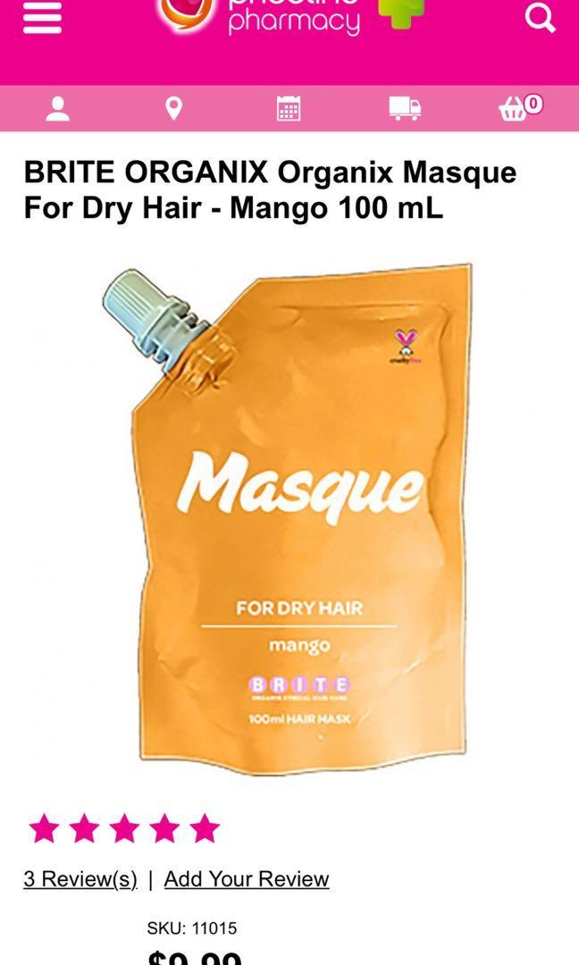 10 x Brite Organix Mango Masque Hair Treatment Mask for Dry Hair - RRP$99.99