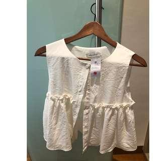 Brand new hollyhoque ruffles top in white (Size M)